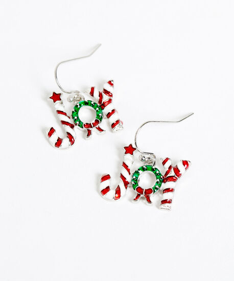 """""""JOY"""" Candy Cane Earrings, Red/White/Green, hi-res"""