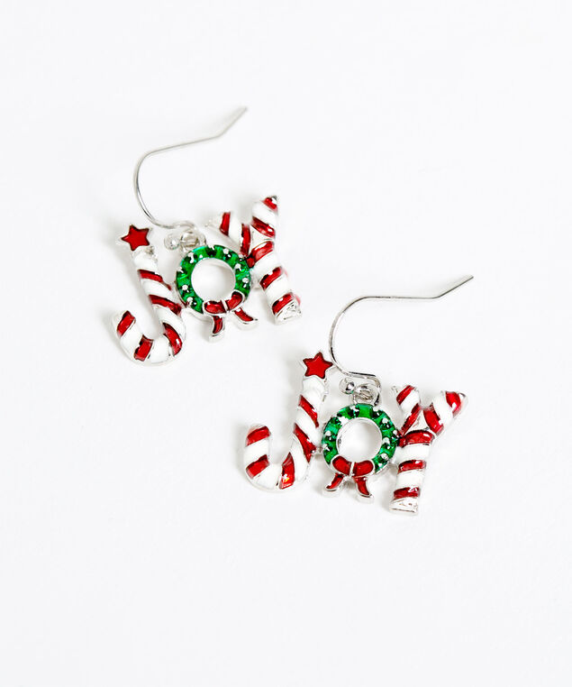 """JOY"" Candy Cane Earrings, Red/White/Green, hi-res"