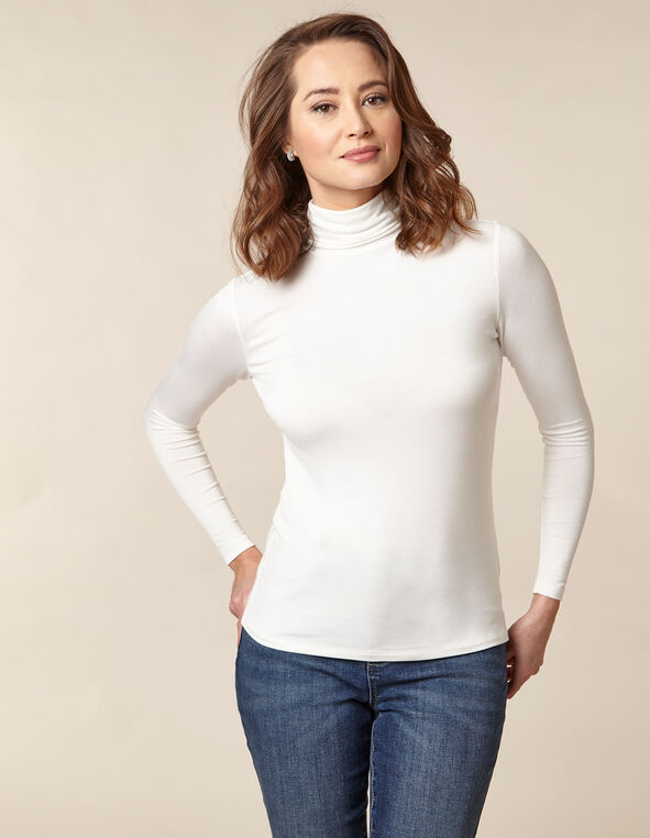 Ivory Knit Mock Neck Top, Ivory, hi-res