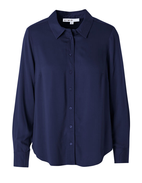 Navy Button Front Collared Blouse, Navy, hi-res