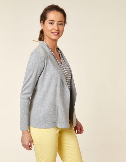 Light Grey Knit Open Sweater, Grey, hi-res