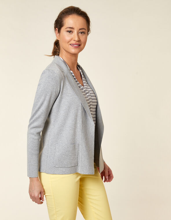 Light Grey Knit Open Sweater, Grey, hi-res