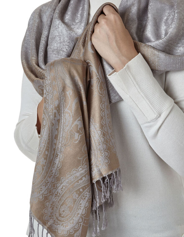Neutral Dip Dye Pashmina Scarf, Neutral, hi-res