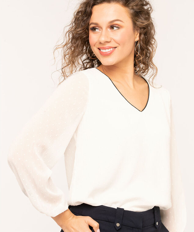 Ivory Textured V-Neck Blouse, Ivory/Black, hi-res