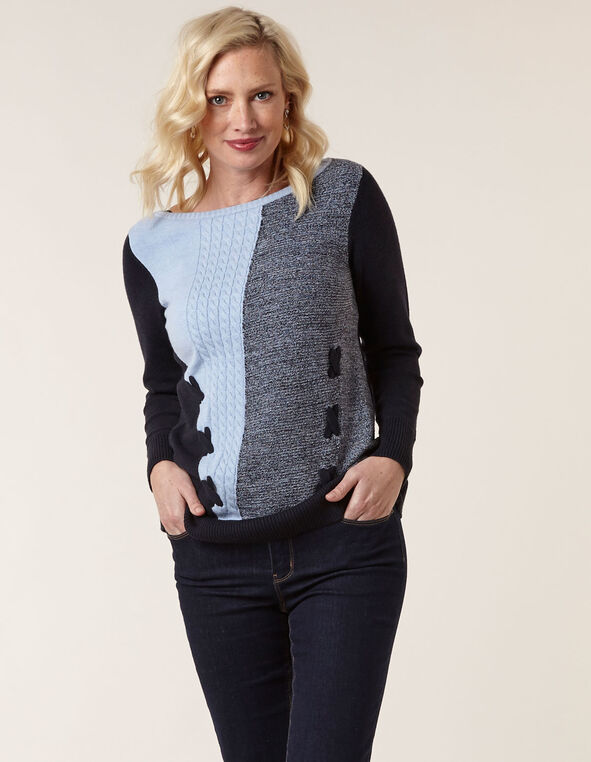 Blue Mixed Knit Sweater, Navy, hi-res