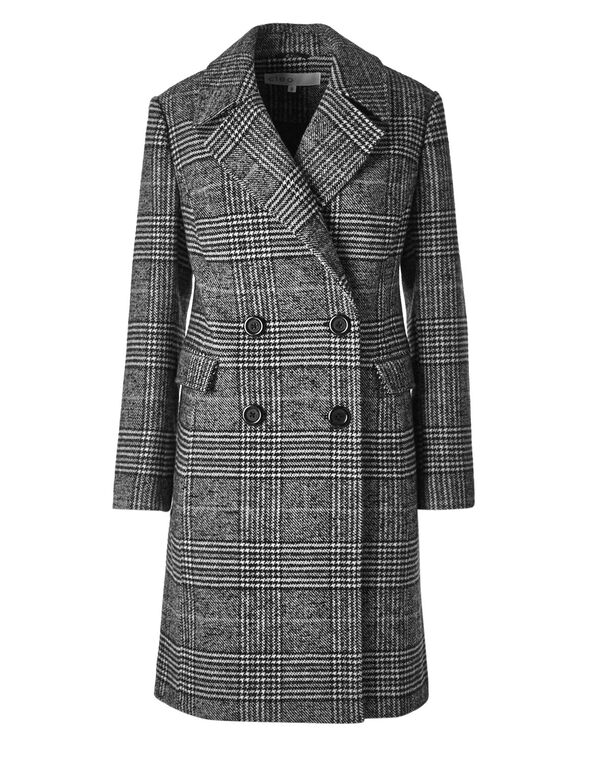 Black Check Faux Wool Coat, White/Black, hi-res