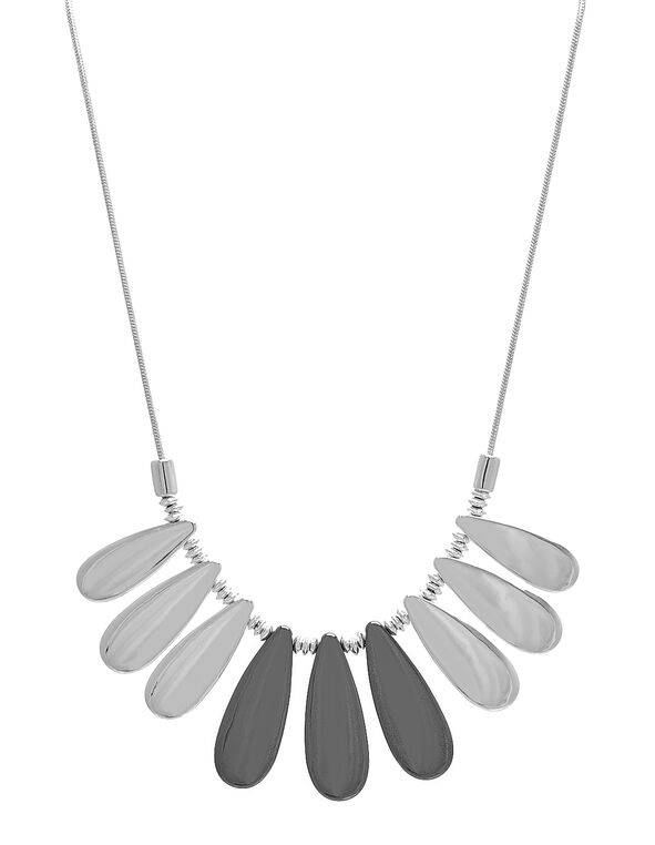 Short Silver Statement Necklace, Silver, hi-res