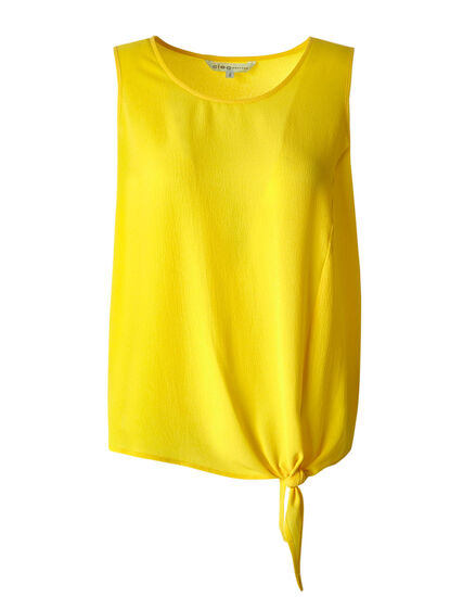 Yellow Tie Front Crepe Blouse, Sunshine Yellow, hi-res