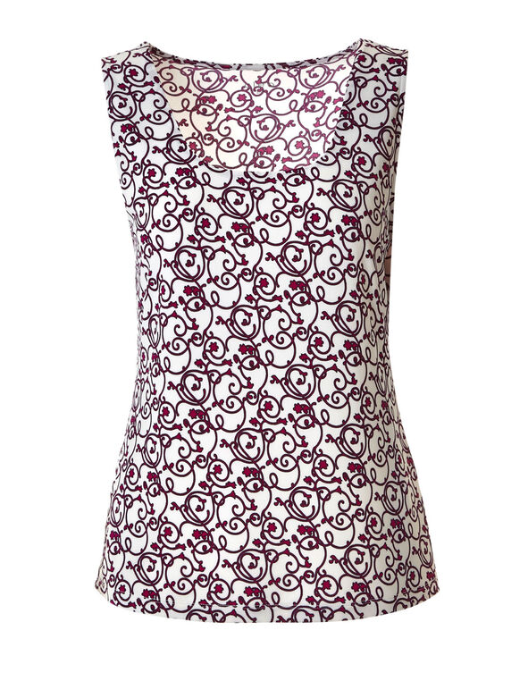 Fuchsia Patterned Essential Layering Tank, Fuchsia, hi-res