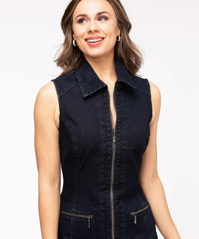 Collared Zip Front Denim Dress, Dark Wash