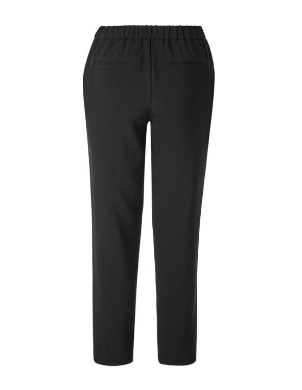 Black Crepe Slim Leg Pant, Black, hi-res