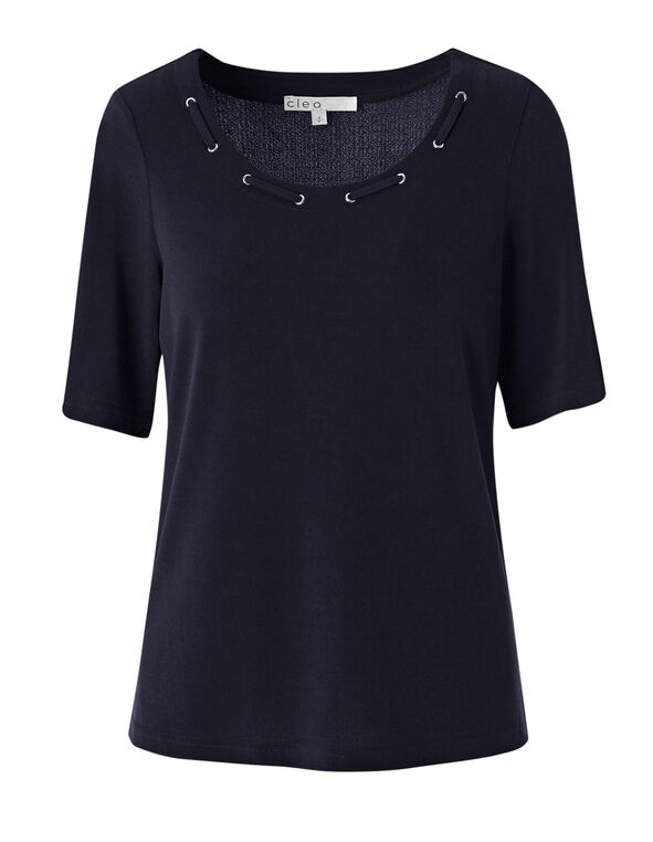 Navy Grommet Neckline Detail Top, Navy, hi-res