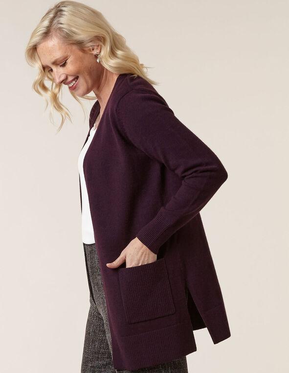 Purple Basic Cardigan, Purple, hi-res