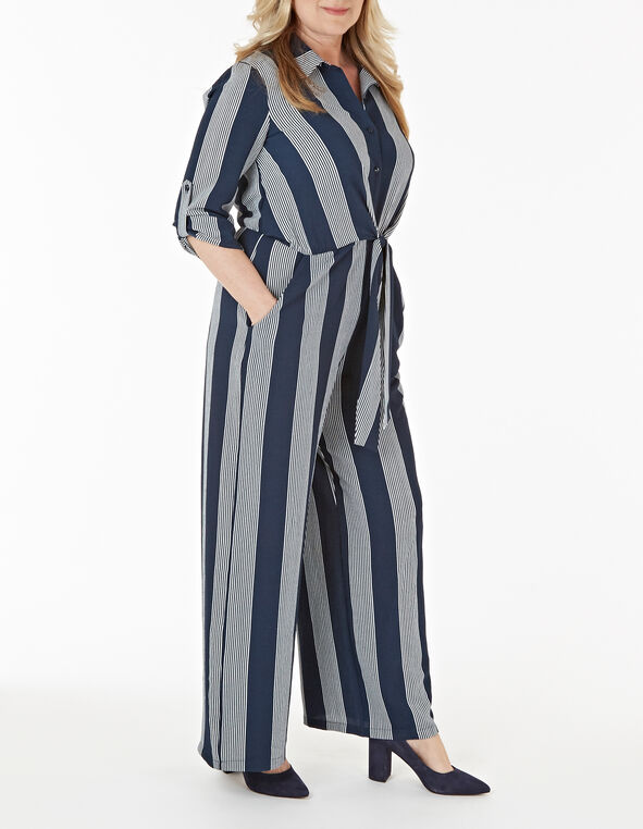 Navy Striped Jumpsuit, Navy, hi-res