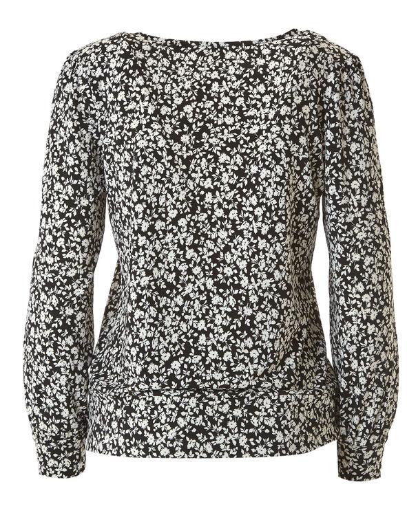 Black Floral Top, Black/White, hi-res