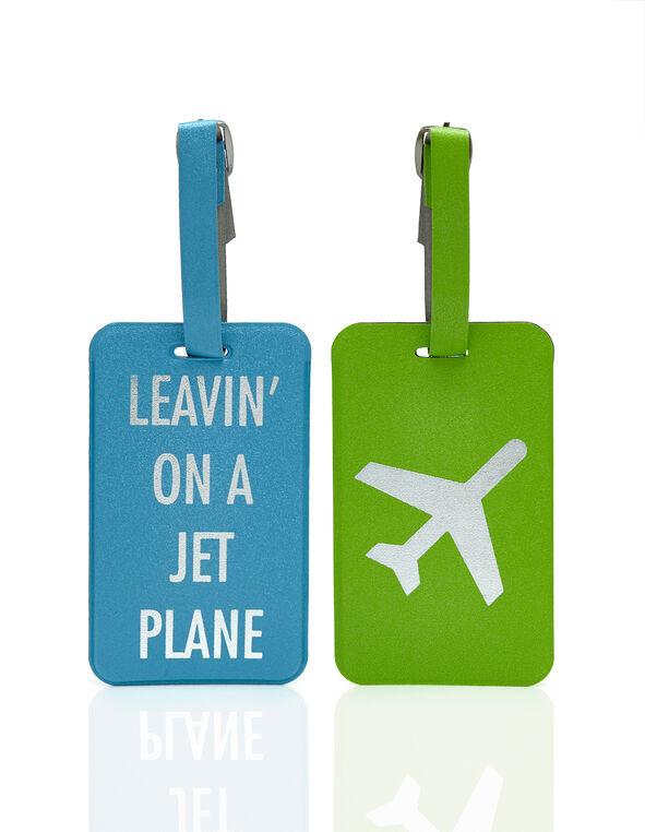Luggage Tag Set, Teal/Green, hi-res