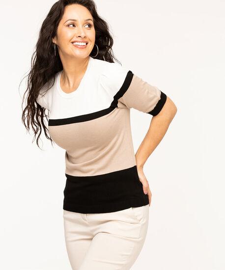 Gathered Sleeve Crew Neck Sweater, Ivory/Black/Beige Stripe, hi-res