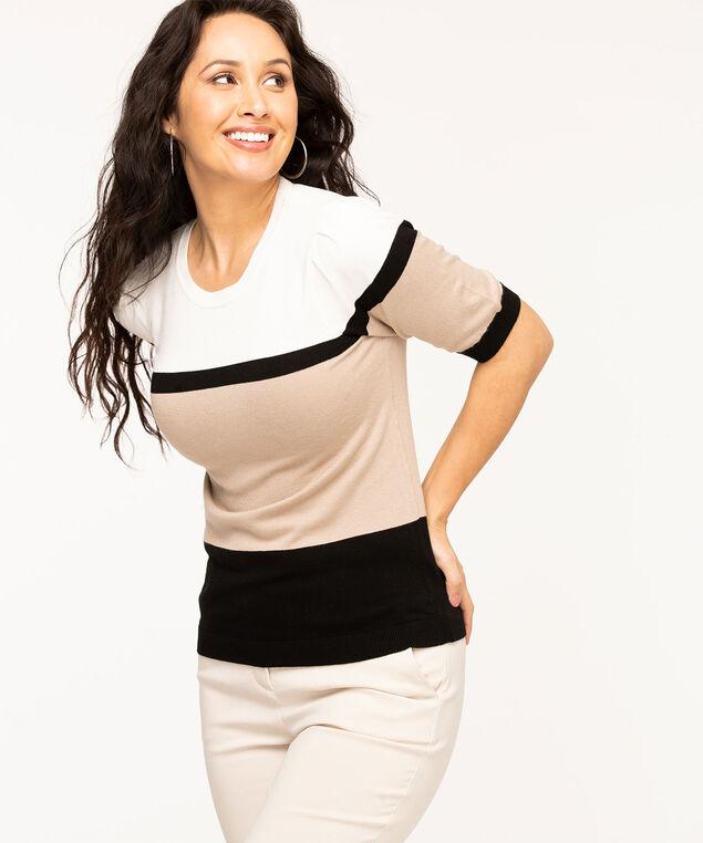 Gathered Sleeve Crew Neck Sweater, Ivory/Black/Beige Stripe