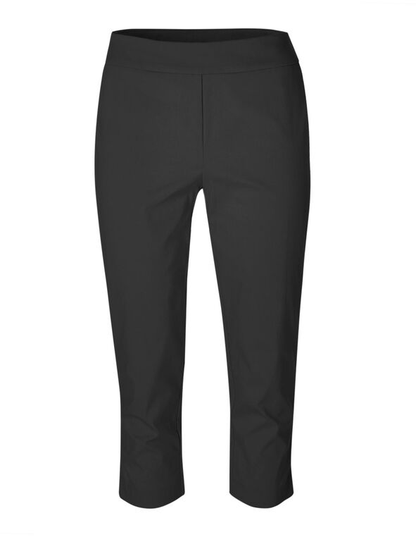Black Pull On Capri Pant, Black, hi-res