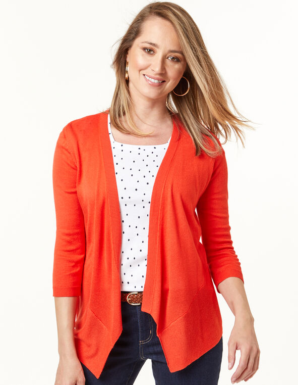 Waterfall Cardigan, Cajun/Orange, hi-res