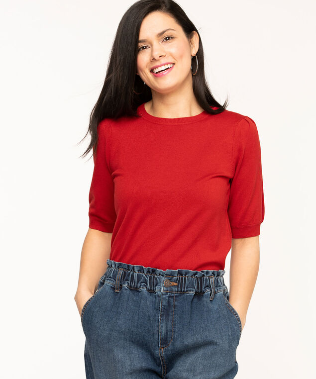 Gathered Sleeve Crew Neck Sweater, Red