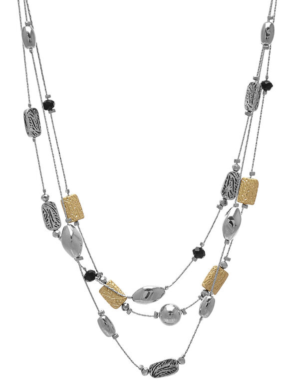 Silver & Gold Short Illusion Necklace, Silver, hi-res