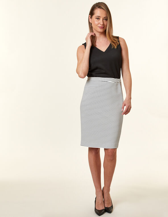 White Stripe Ottoman Pencil Skirt, White, hi-res
