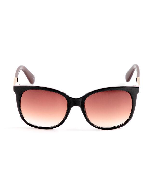 Black Brown Round Sunglasses, Black/Brown/Gold