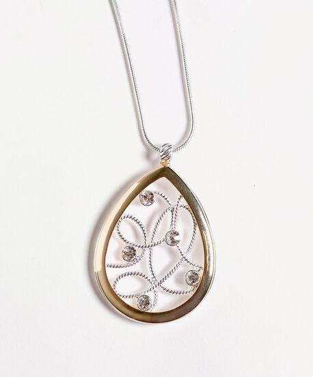 Teardrop Pendant Long Necklace, Gold/Silver, hi-res