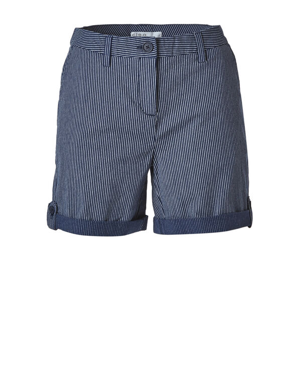 Navy Striped Cotton Short, Navy, hi-res