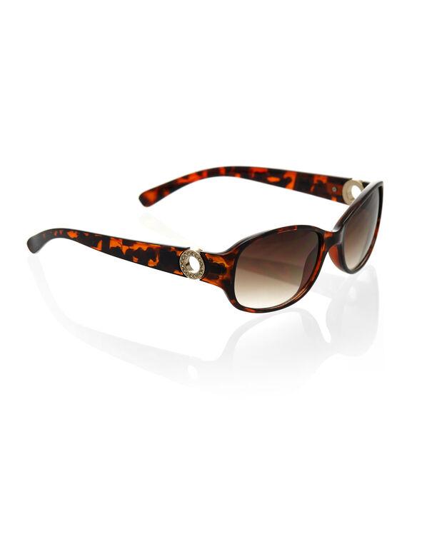 Slim Tort Rectangular Sunglasses, Brown, hi-res