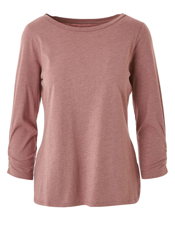 Rose Ruched Sleeve Tee, Rose, hi-res