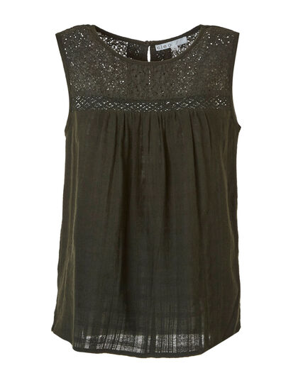 Loden Sleeveless Blouse, Green, hi-res