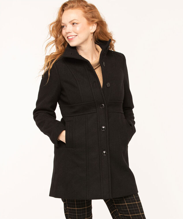 Black Button Front Seamed Coat, Black, hi-res