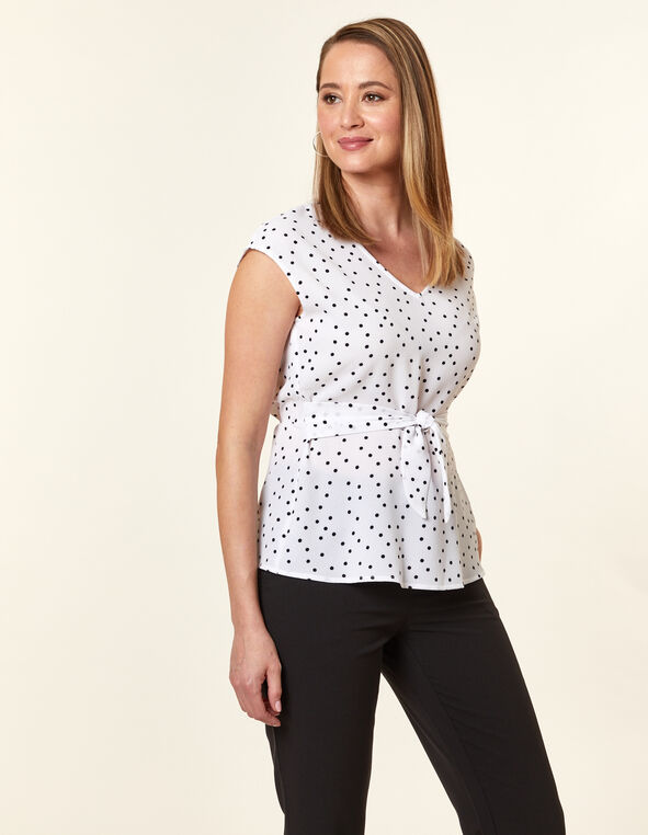 White Dot Peplum Blouse, White, hi-res