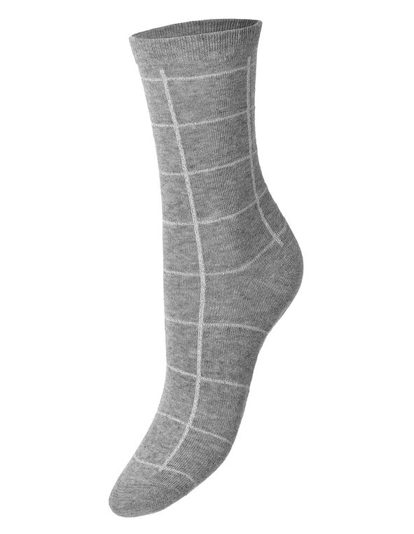 Grey Window Pane Crew Sock, Grey, hi-res