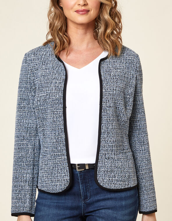 Navy Tweed Blazer, Navy, hi-res