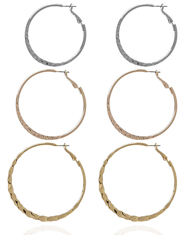 Hammered Hoop Earring Trio, Silver/Gold/Rose Gold, hi-res