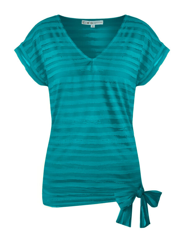 Summer Turquoise Striped Burnout Top, Summer Turquoise, hi-res