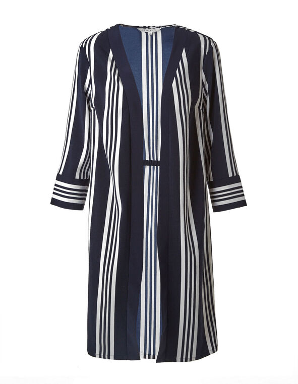 White & Navy Striped Open Blazer, Navy, hi-res