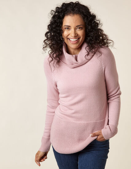 Blush Cowl Neck Sweater, Pink, hi-res