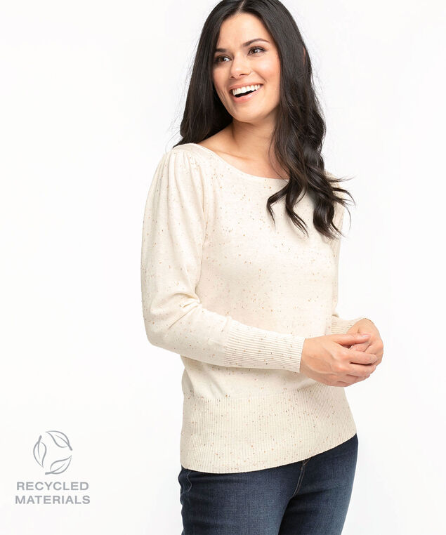 Recycled Boat Neck Pullover Sweater, Ivory Speckle