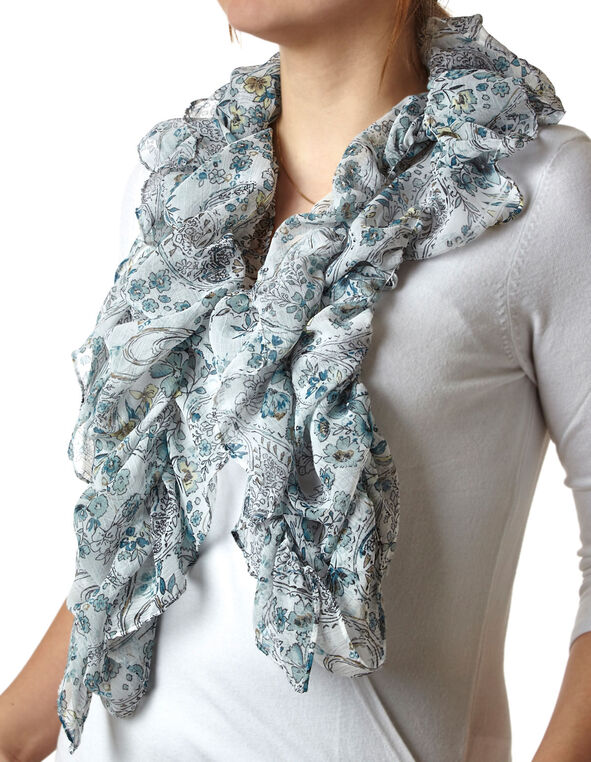 Blue Floral Paisley Ruffle Scarf, Blue, hi-res