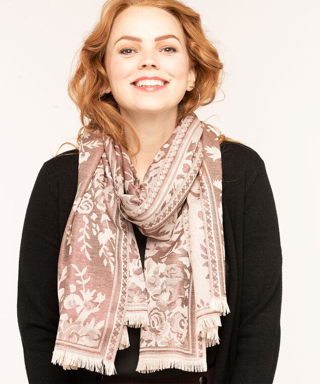 Floral Boutique Lurex Scarf, Beige/Wine Mix, hi-res