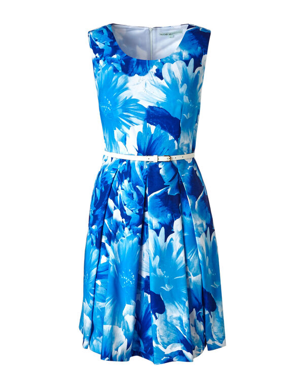 Cobalt Floral Fit & Flare Dress, Blue, hi-res