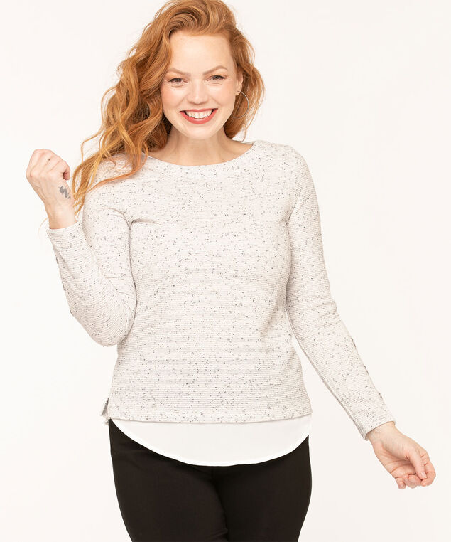 Grey Speckled Fooler Top, Light Grey Mix/White, hi-res