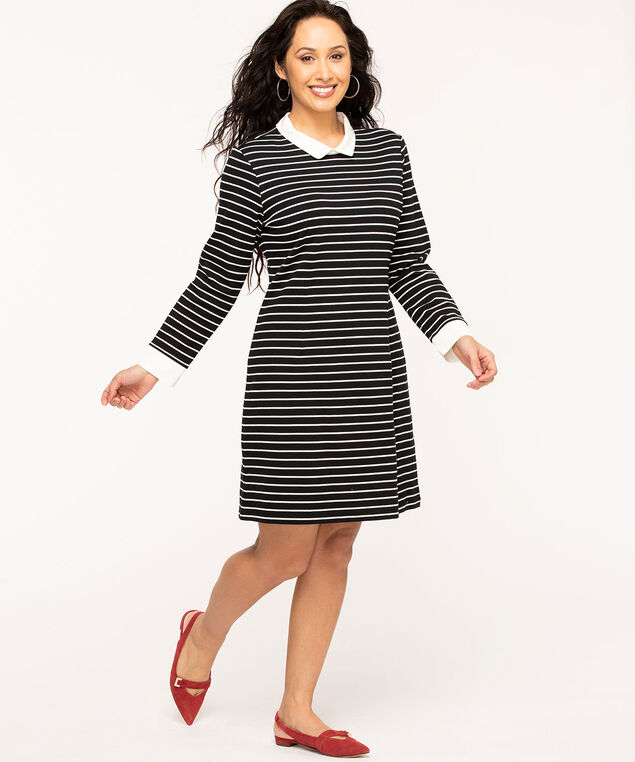 Collared Striped Fooler Dress, Black/White Stripe