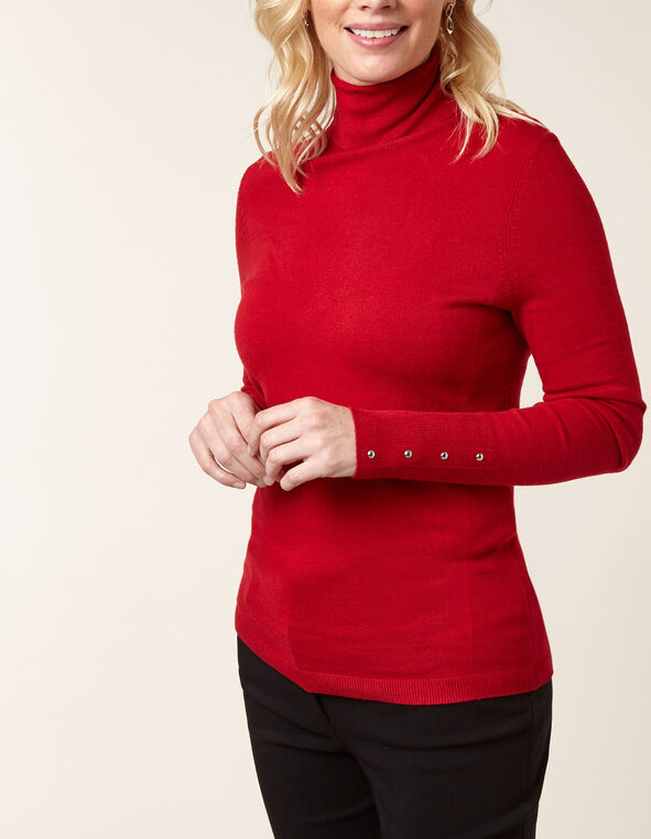 Red Essential Turtleneck Sweater, Red, hi-res