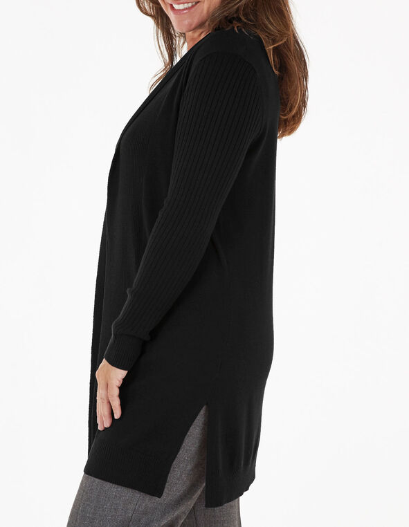 Black Recycled Fabric Cardigan, Black, hi-res