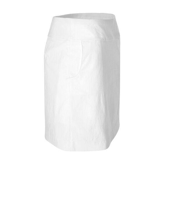 White Pull-On Skort, White, hi-res